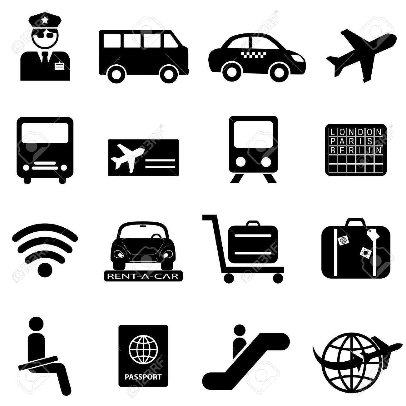 Airport and air travel icon set - 16801209