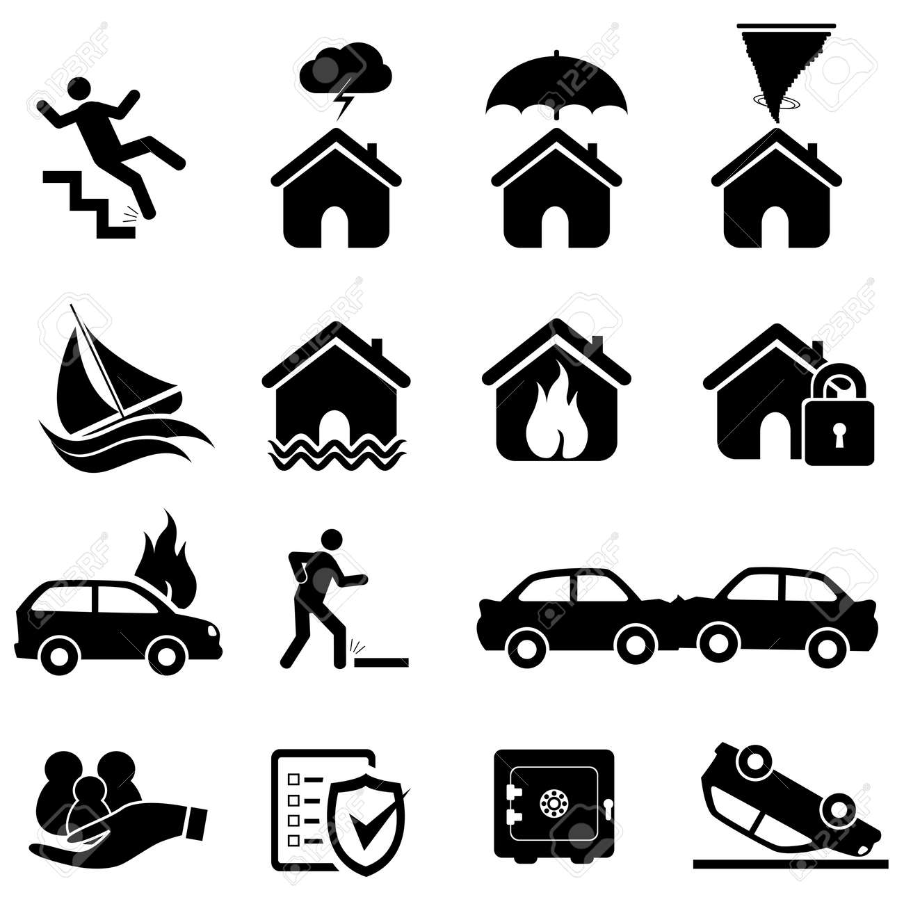 Insurance and disaster icon set - 18454701