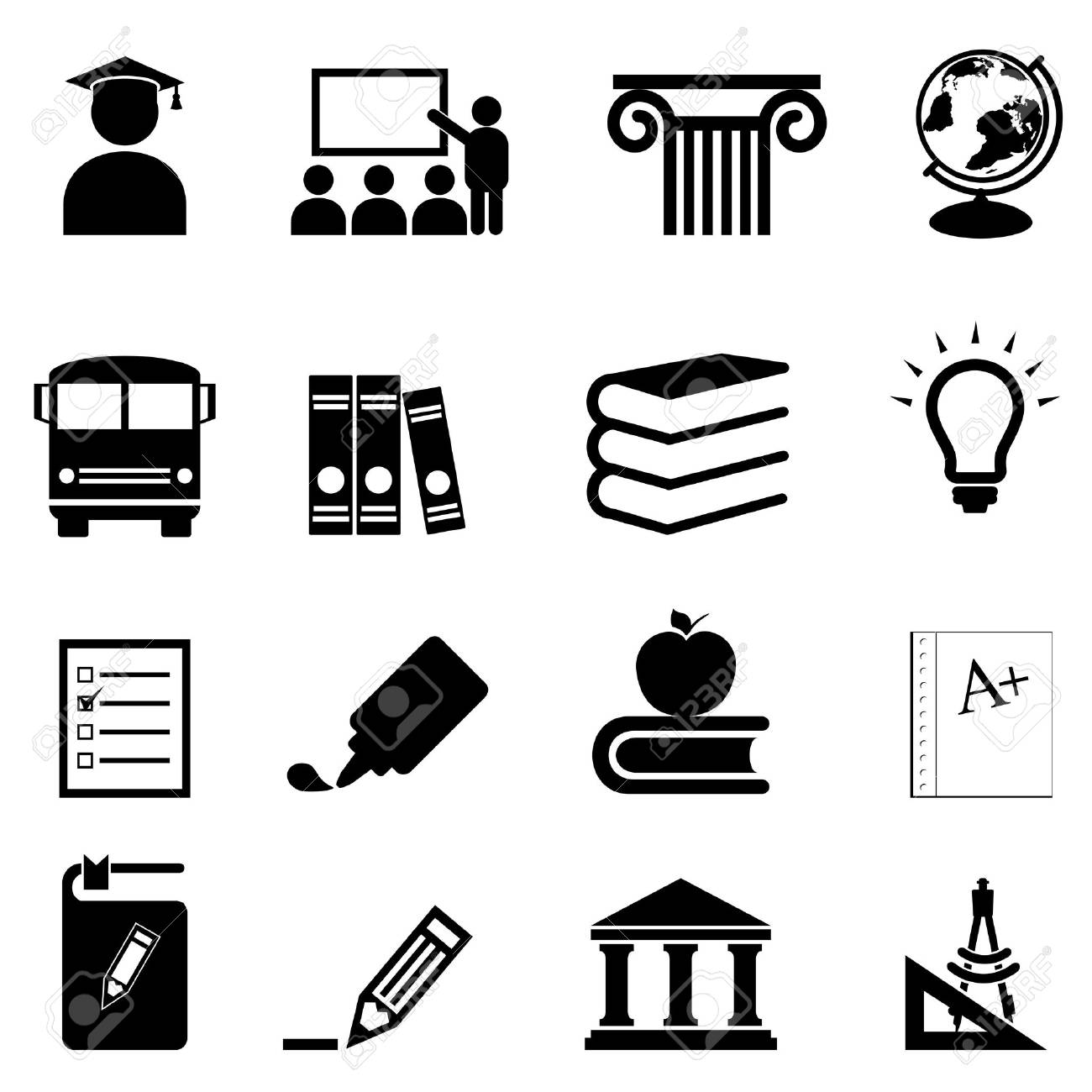 Education and schools icon set - 18454700