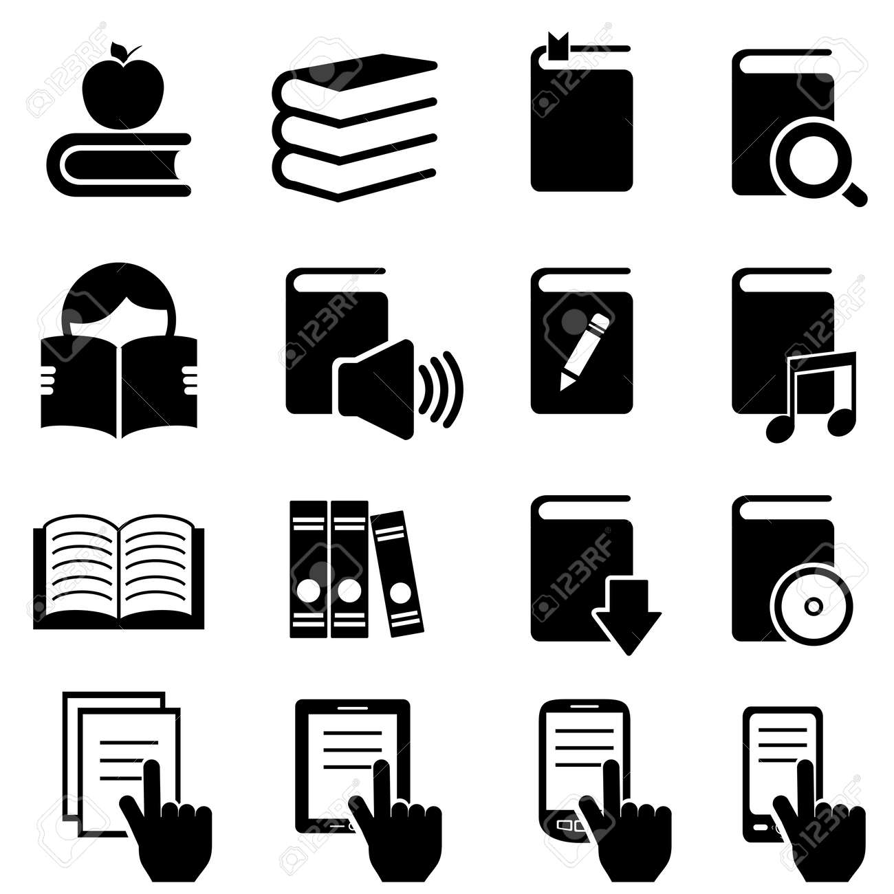 Books, literature and reading icon set Stock Vector - 18848584