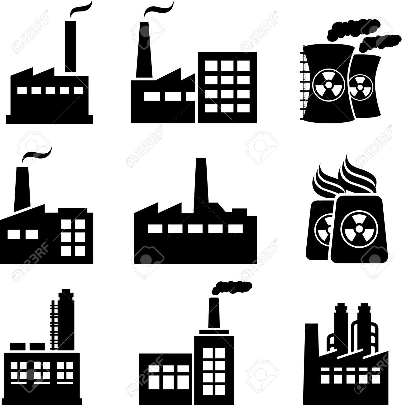 Industrial buildings, nuclear plants and factories Stock Vector - 19476368