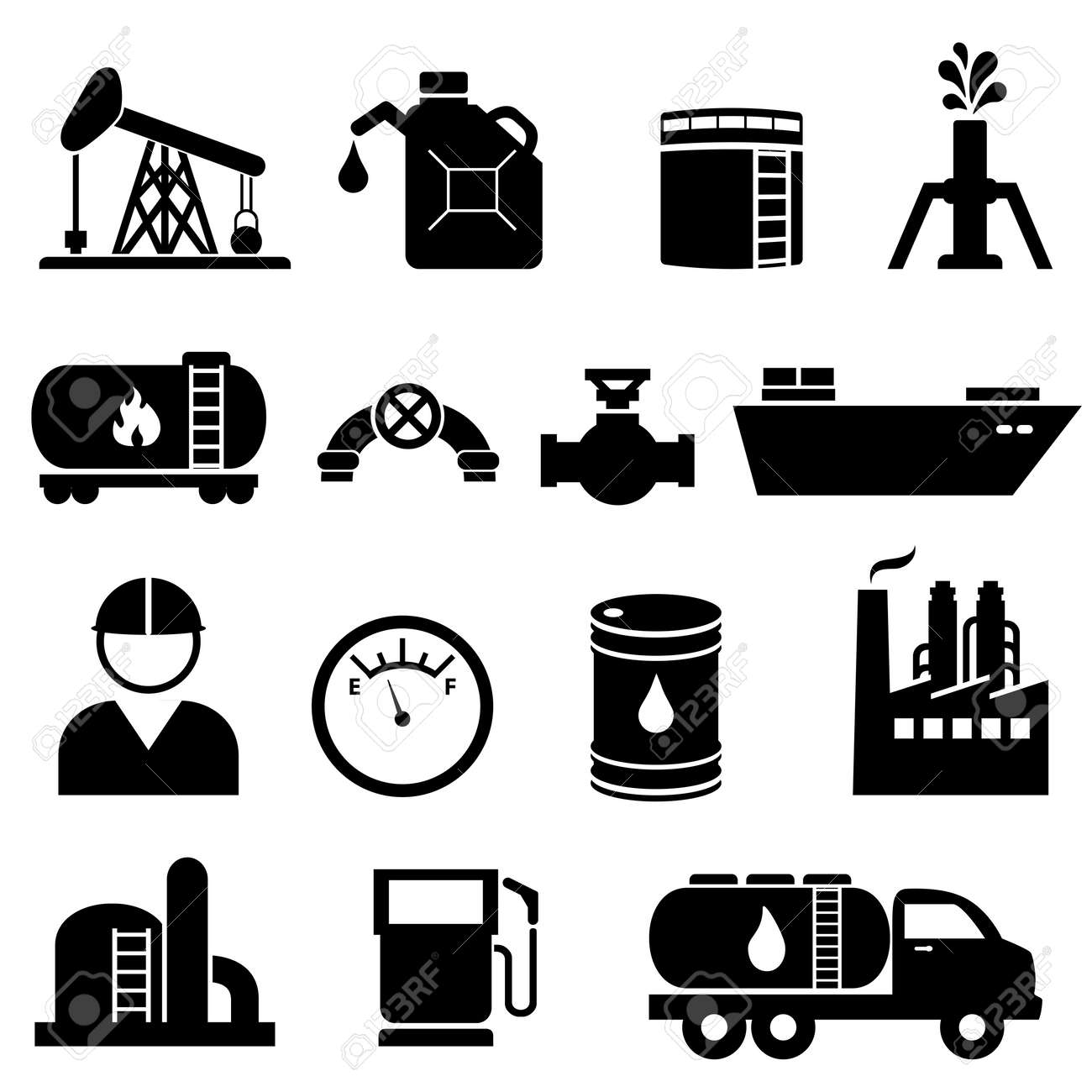 Oil and petroleum icon set in black - 20615874