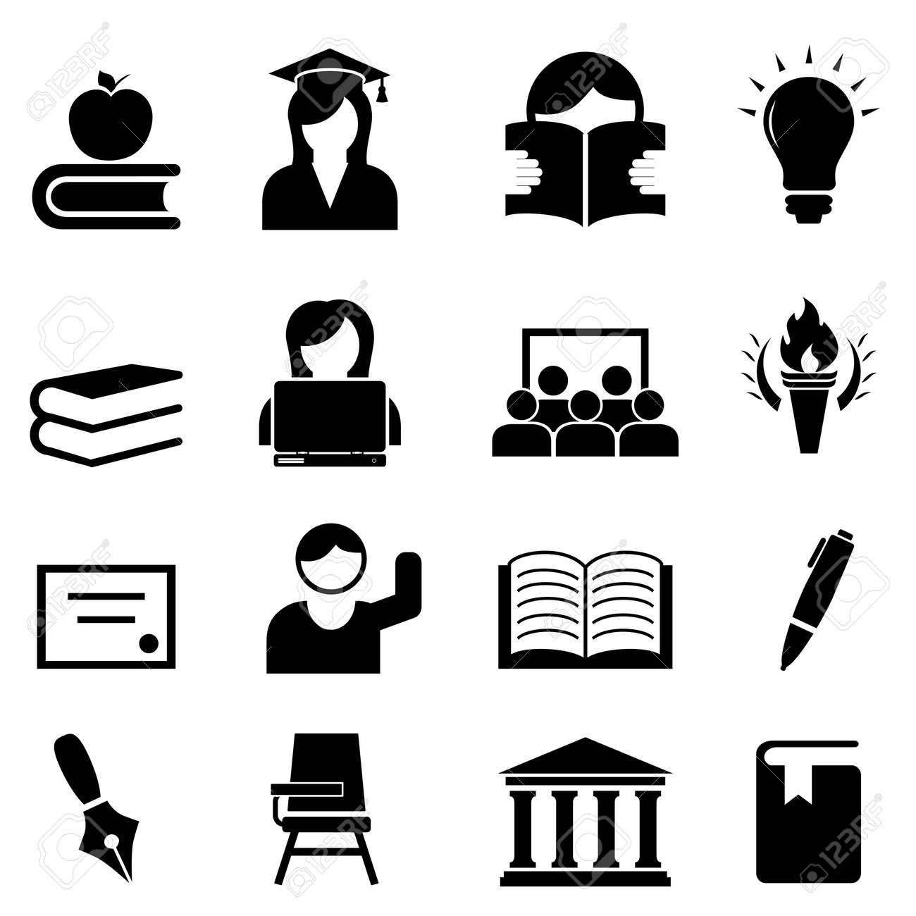 College and higher education icon set Stock Vector - 20863991