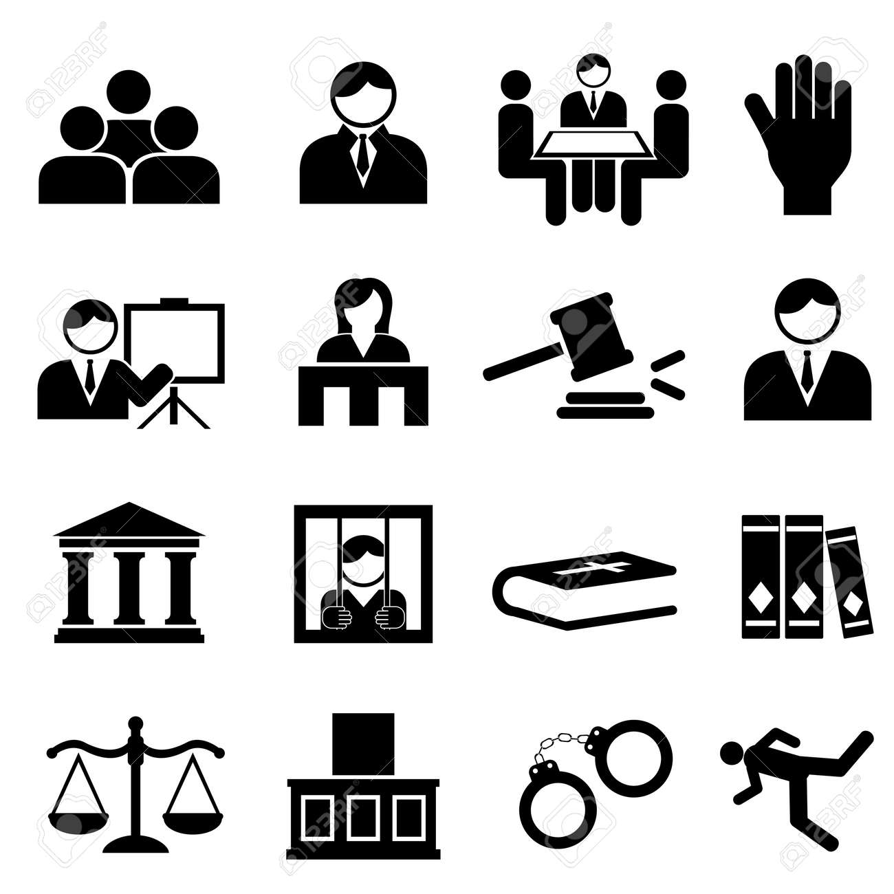 Justice and legal icon set - 20864003