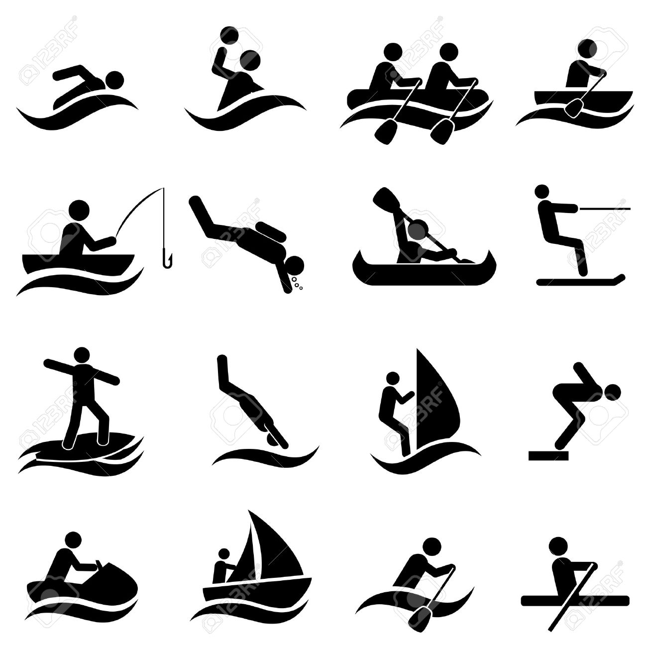 Water sports icon set in black - 20864008