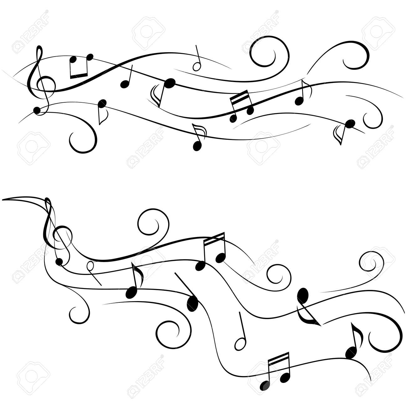Various music notes on swirly staff - 23019479