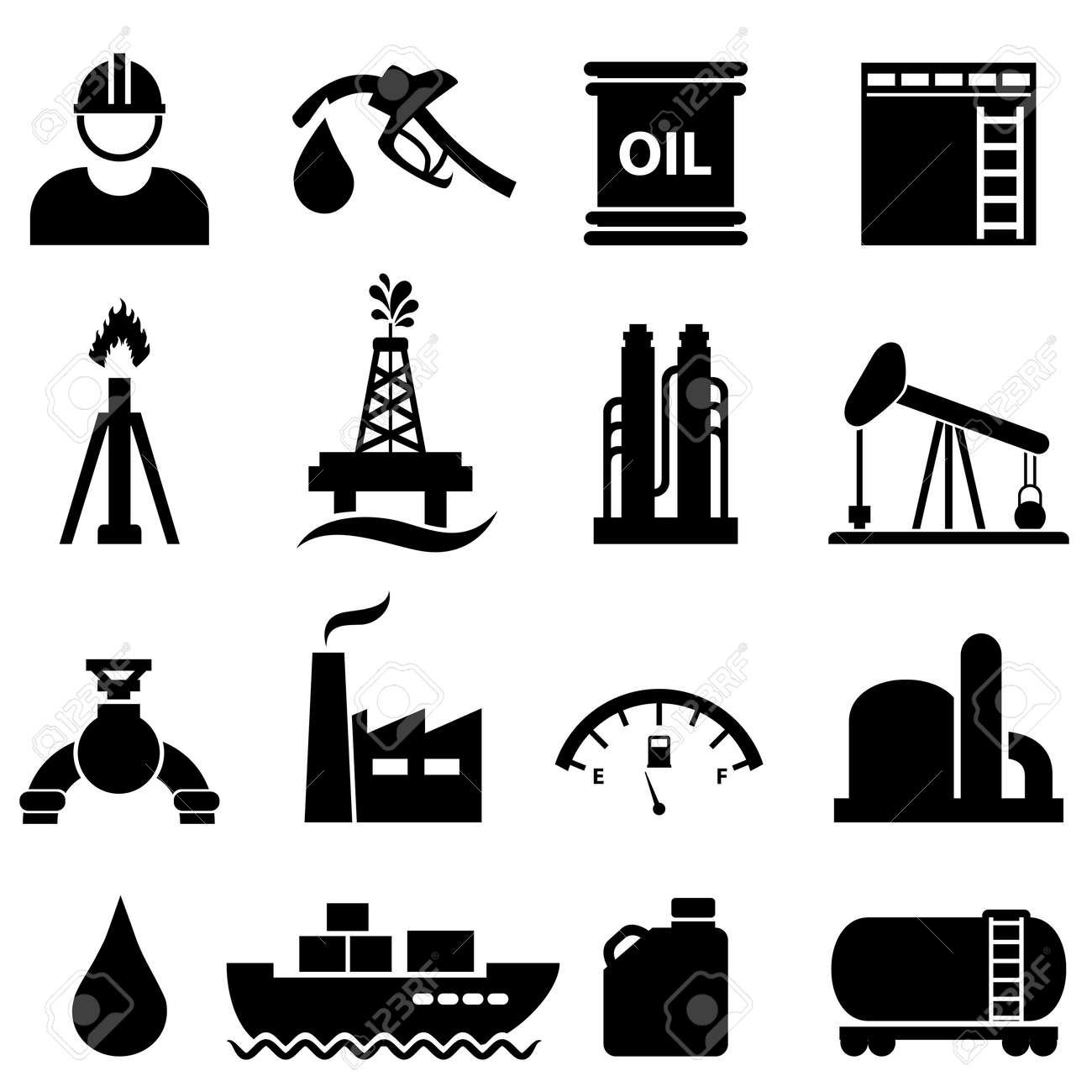 Oil, gasoline and petroleum related icon set - 23019480