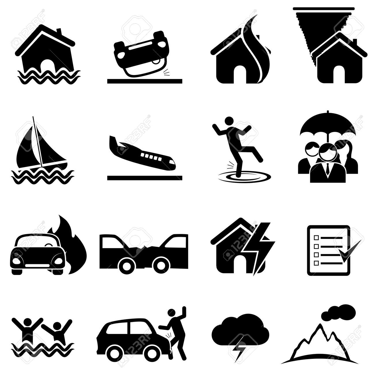 Insurance, accident, disaster icon set - 23019478