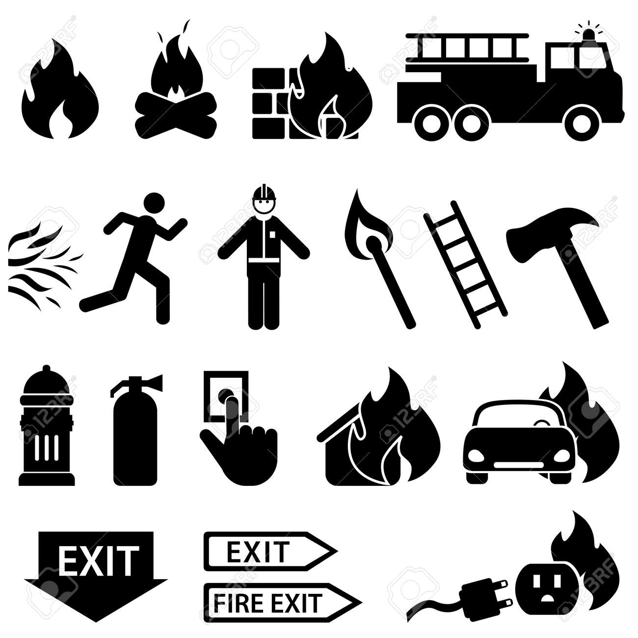 Fire related icon set in black - 23019487