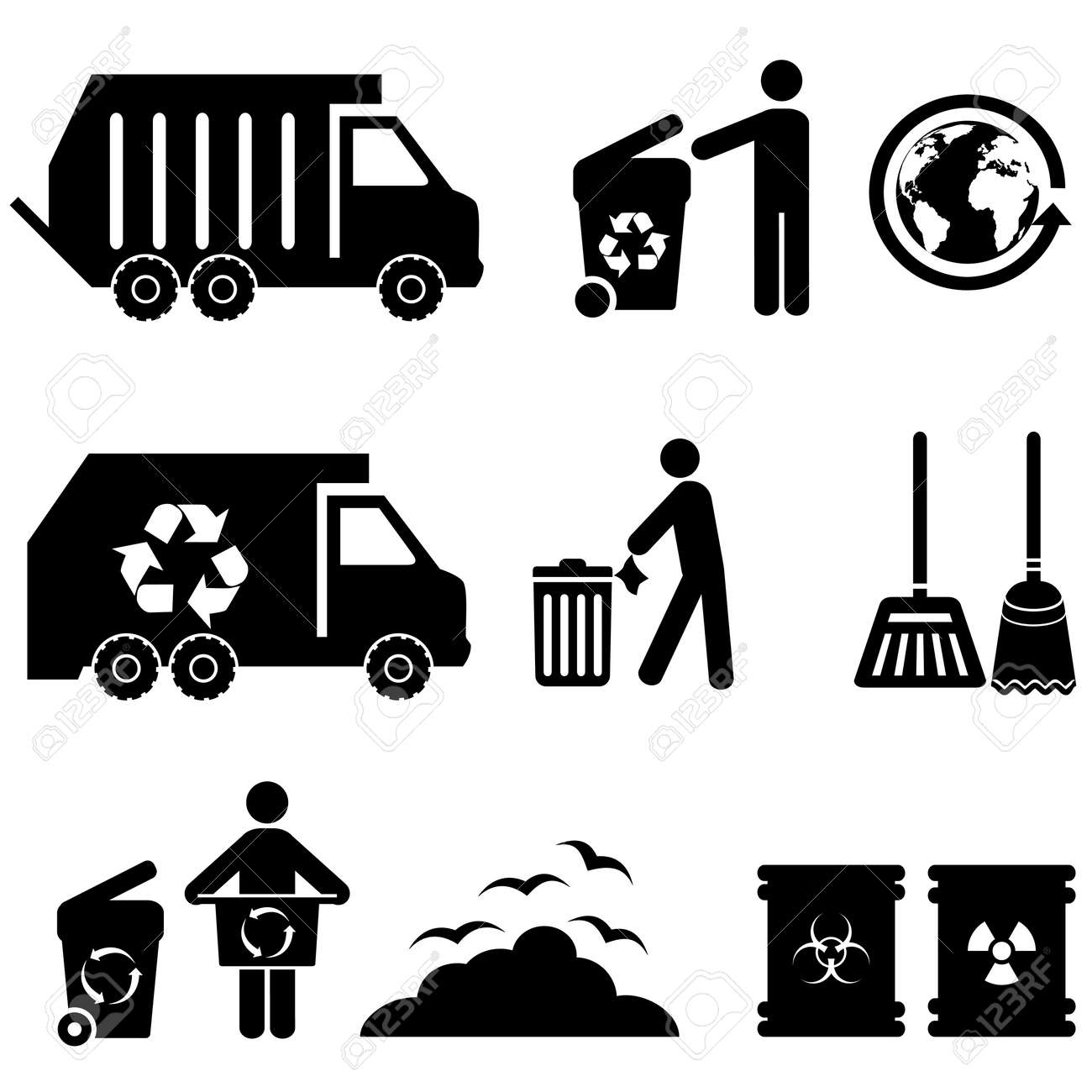 Trash, garbage and waste icon set - 23019488