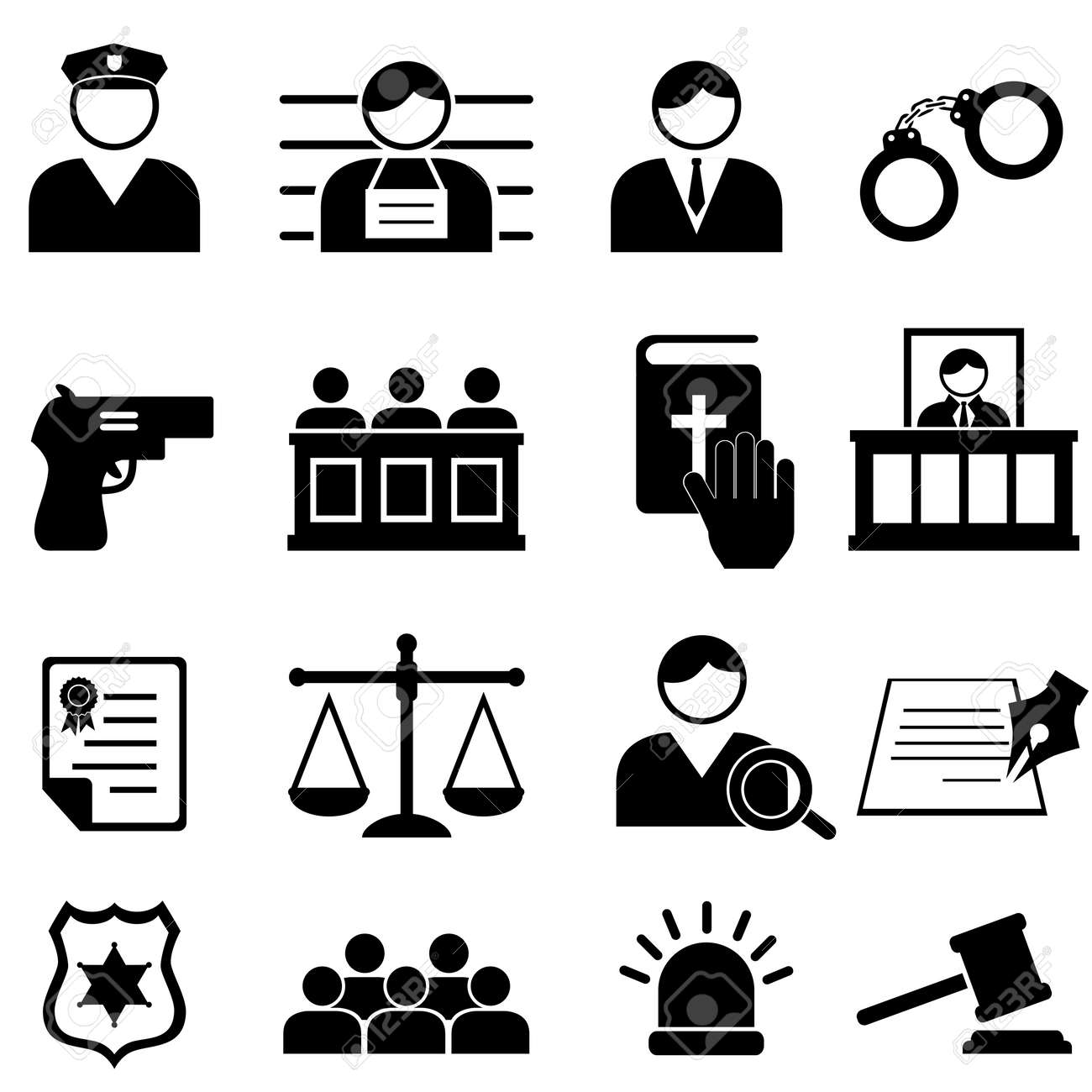 Legal, justice and court icon set - 23298088
