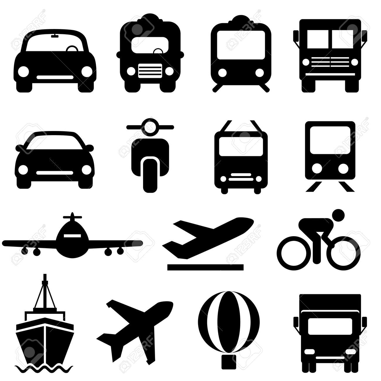 Transportation icon set in black Stock Vector - 23298090