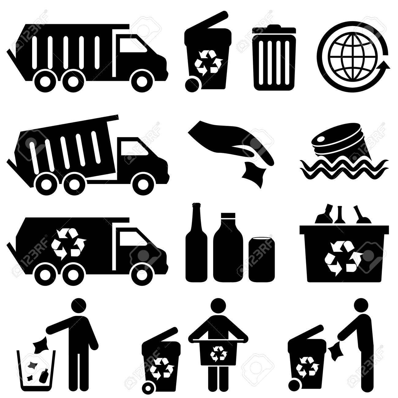 Garbage and recycling icons - 24227528