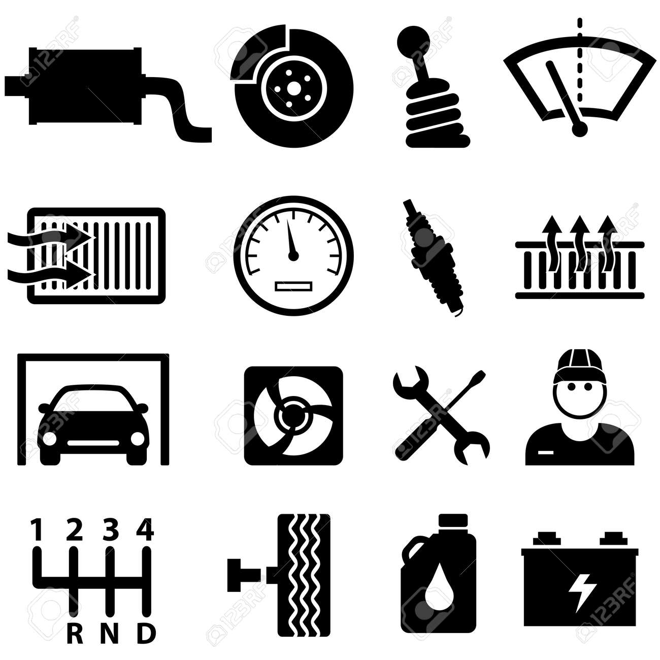 Car Repair Shop And Mechanic Icon Set Royalty Free Cliparts Vectors