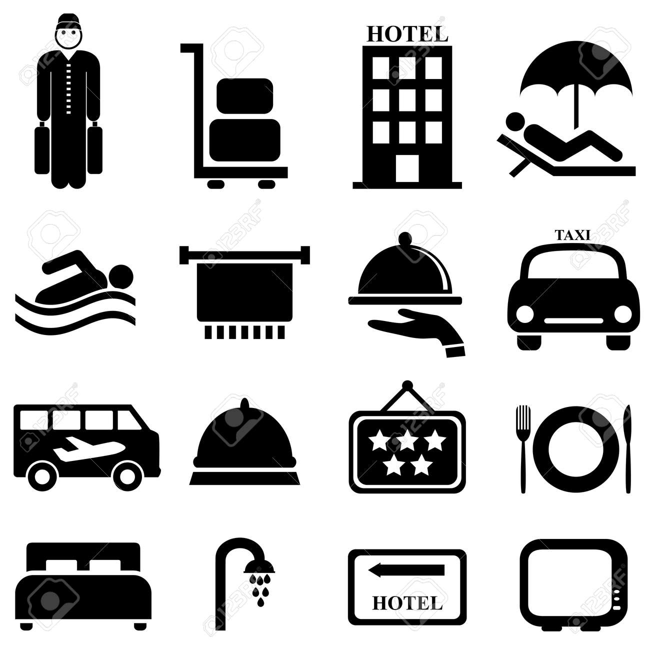 Hotel and hospitality icon set - 27563892