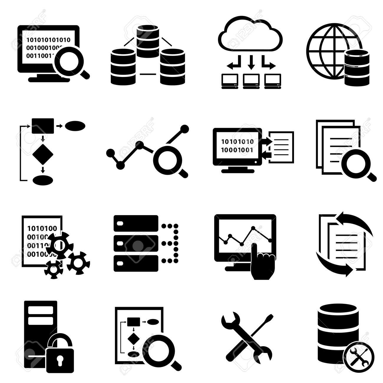 Big data, cloud computing and technology icon set - 30768352