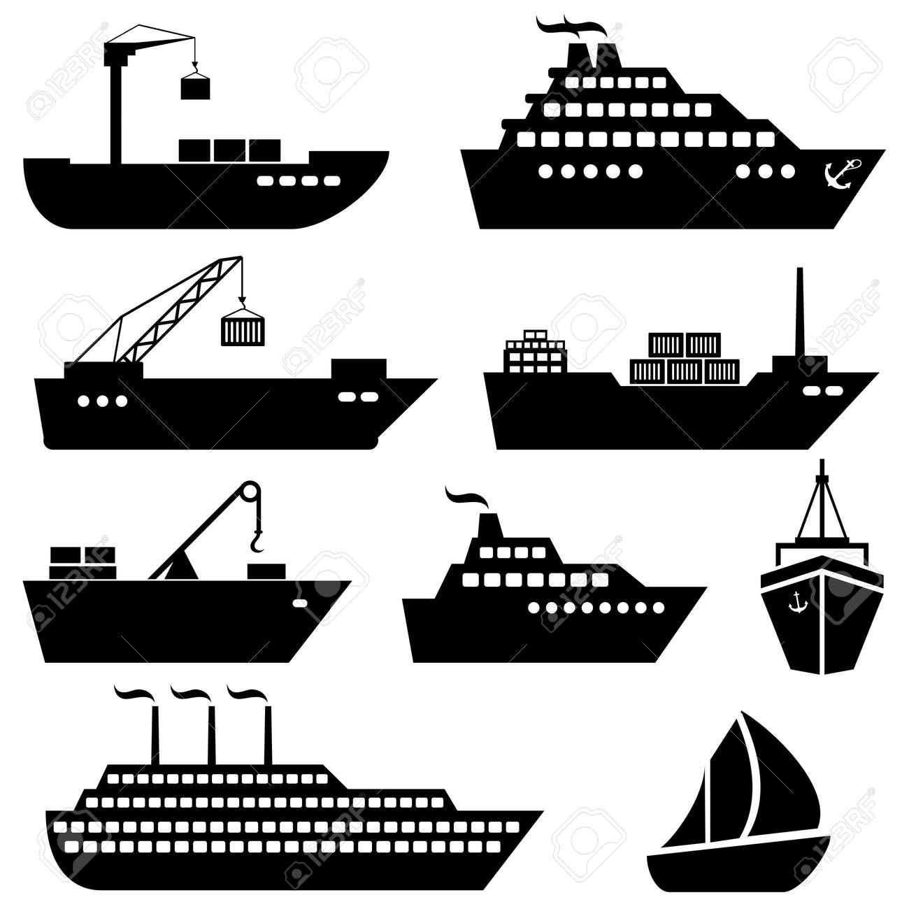 Ships, boats, cargo, logistics, transportation and shipping icons - 30768354
