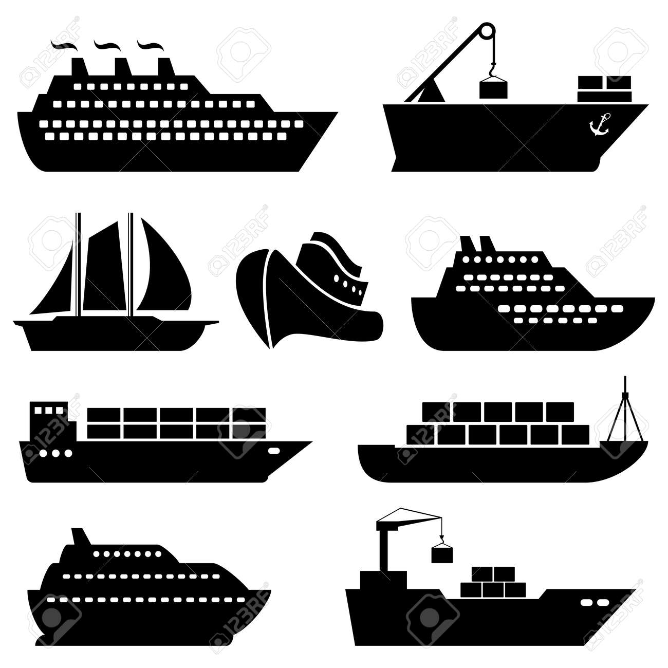 Ships, boats, cargo, logistics, transportation and shipping icons - 31426156
