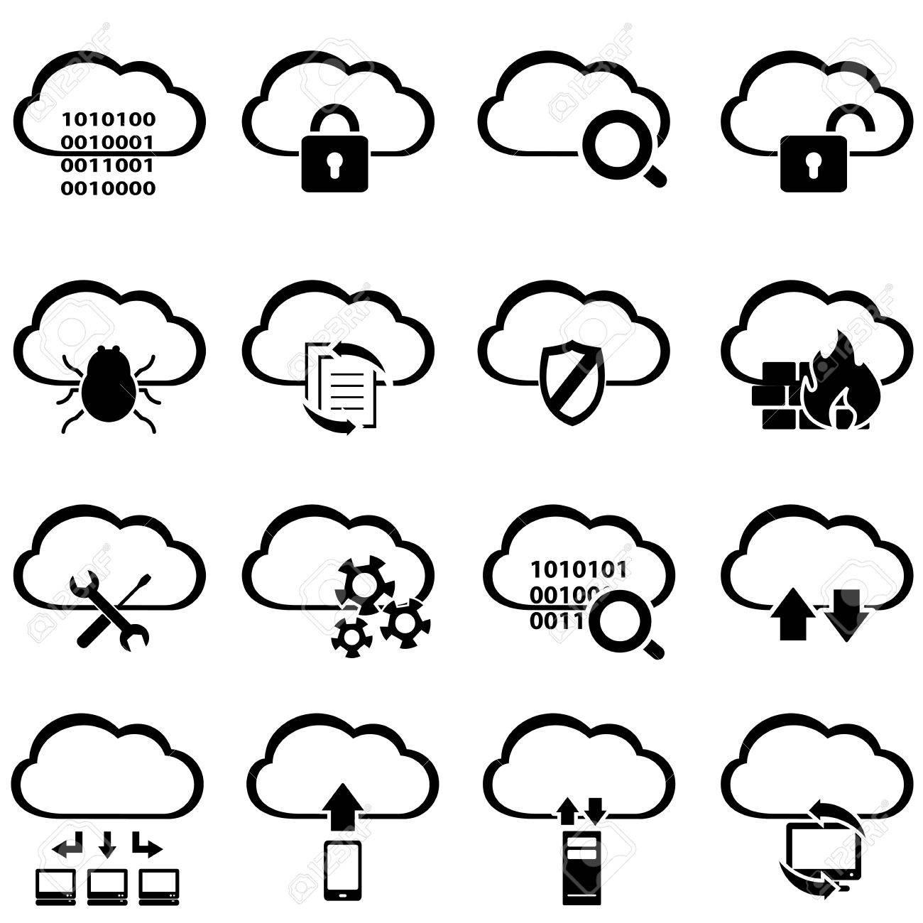 Big data and cloud computing icon set - 41373500