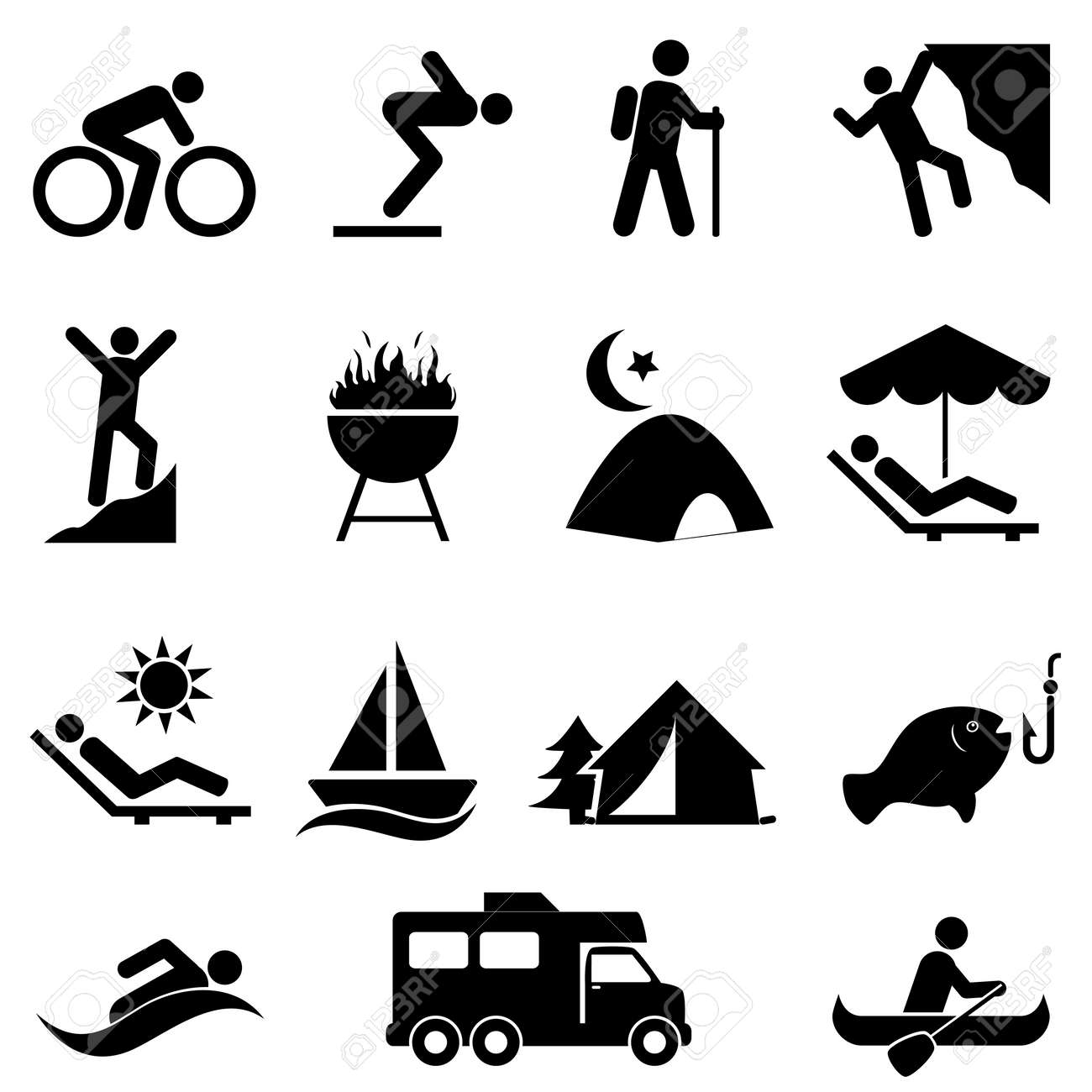 Outdoor, leisure and recreation icon set - 42540725
