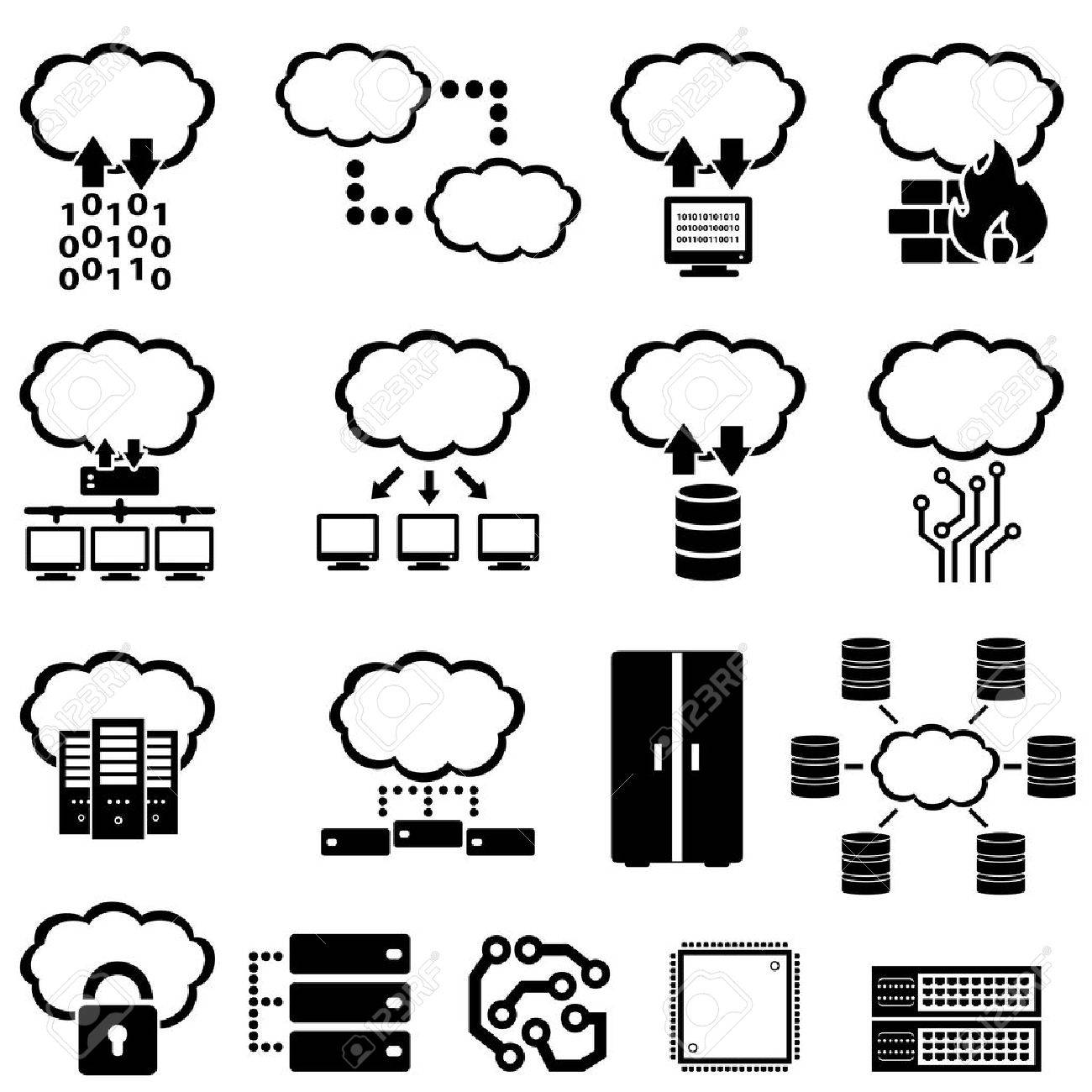 Big data, technology and cloud computing icons - 44477694