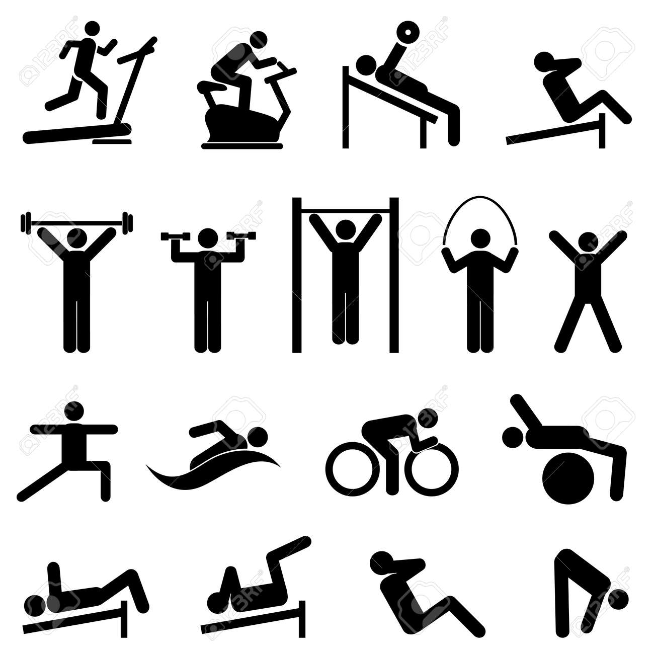 Exercise, fitness, health and gym icon set - 45947832