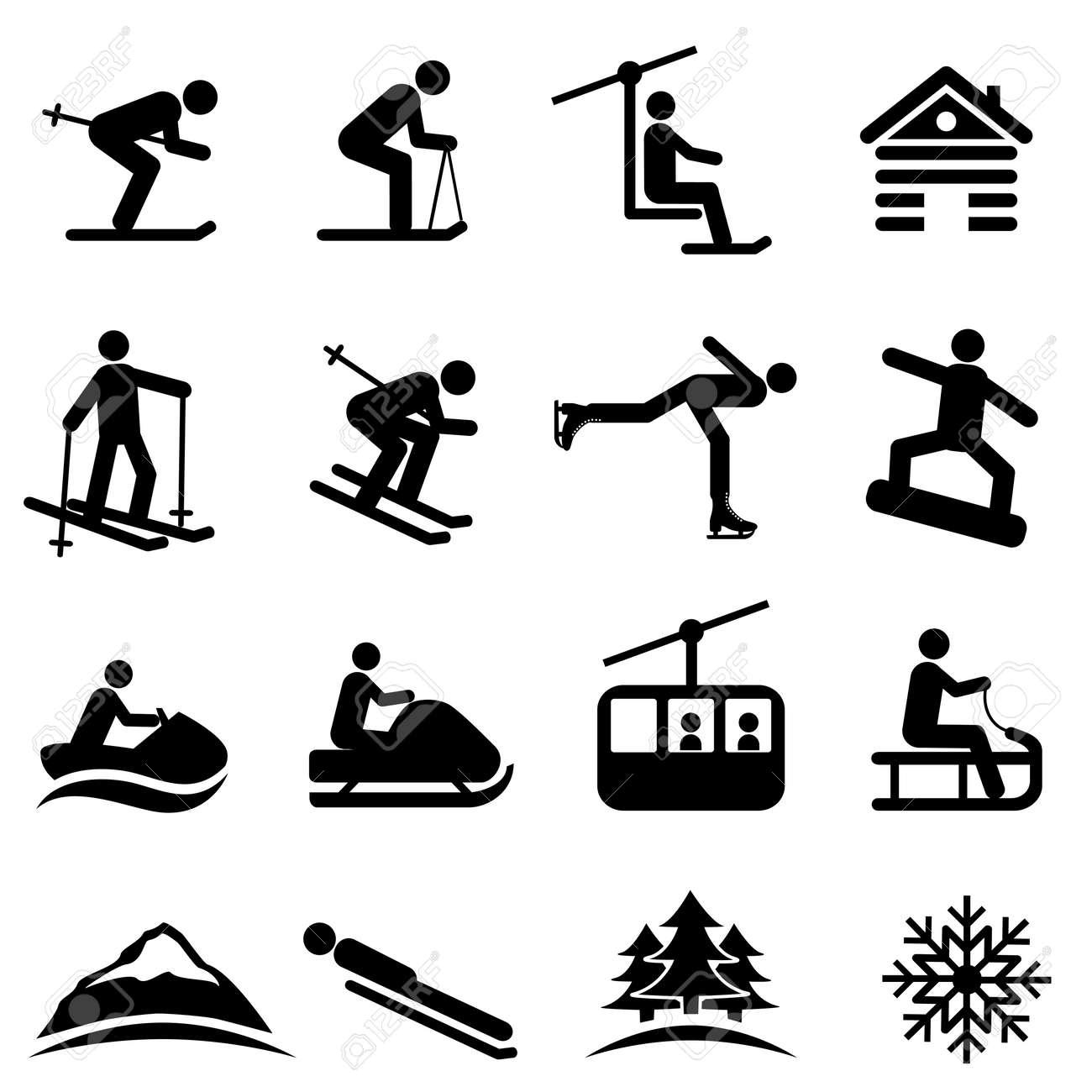 Ski, snow and winter icon set - 46328735