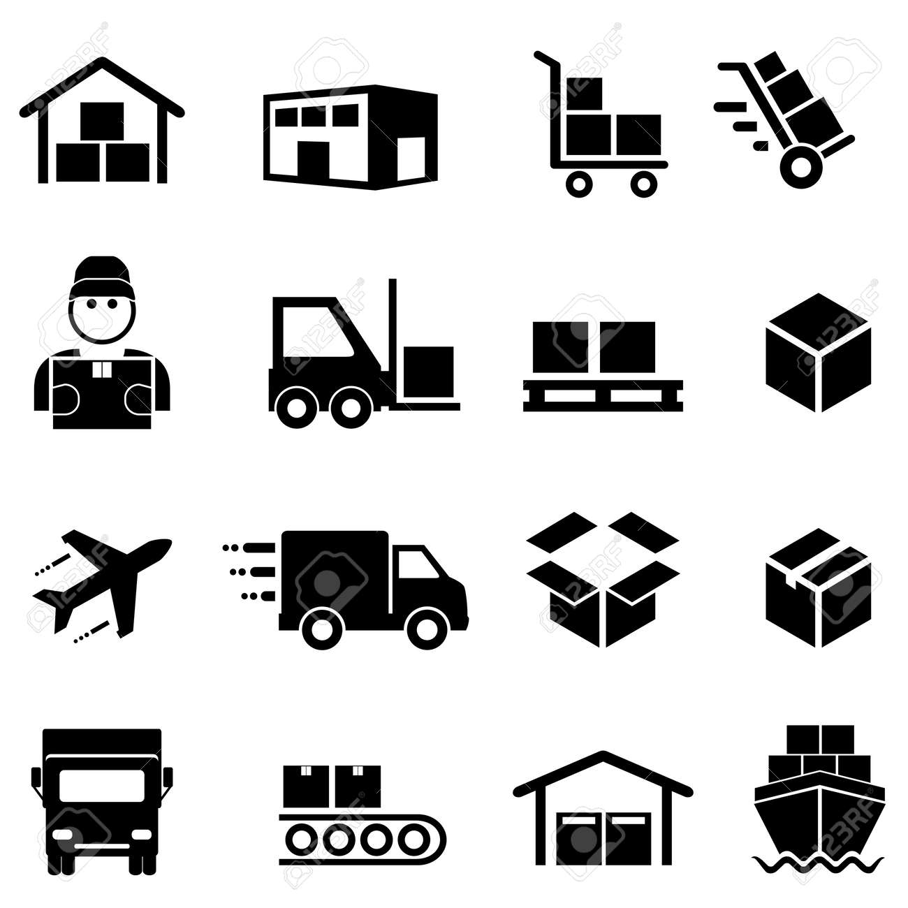 Shipping, freight, cargo, delivery, distribution and logistics icon set - 69048931