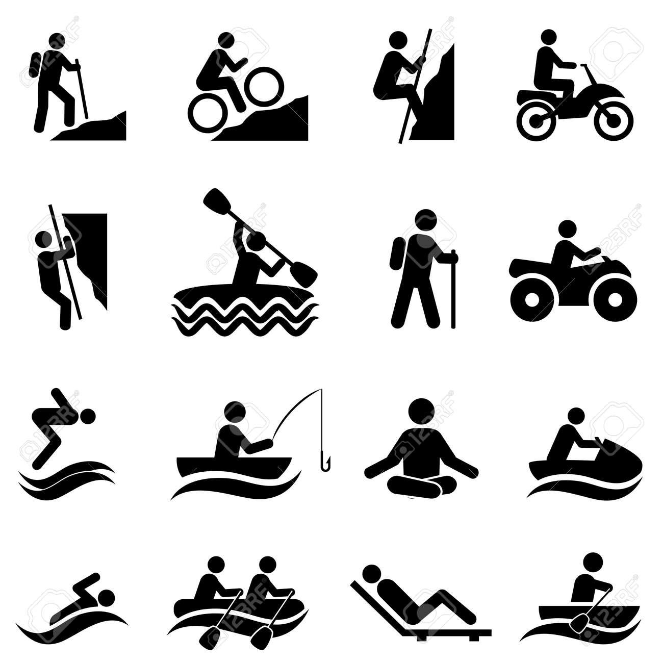 Leisure and outdoor recreational activities icon set - 70655869