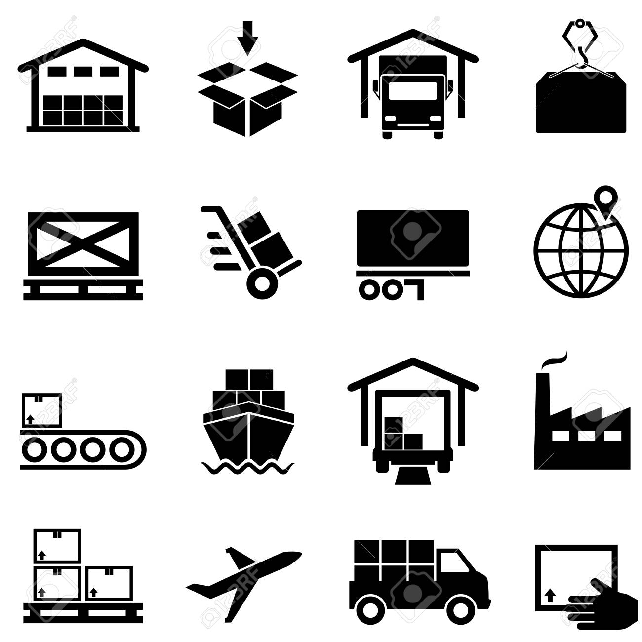 Logistics Supply Chain Distribution Warehousing And Shipping Icon Set Stock Vector