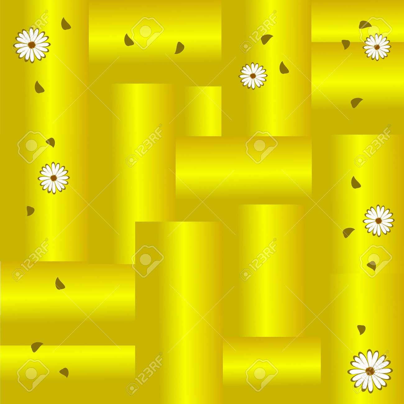 1a61821cf3fc Gold Background With Leaves And Daisies Royalty Free Cliparts ...