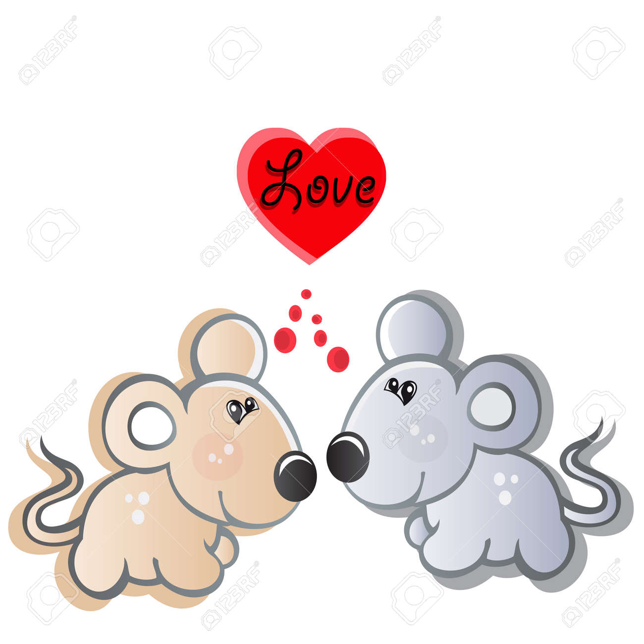 pair of small mouses in love Stock Vector - 13038216