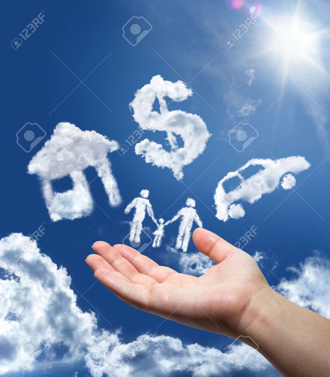 dreams in the sky  car,home,money and family Stock Photo - 23531904