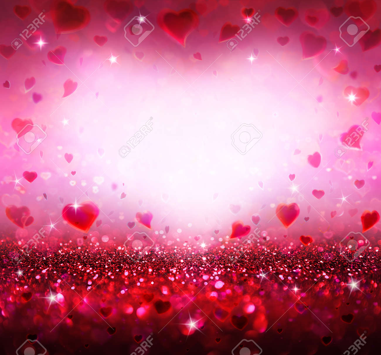 Valentines Background With Hearts Flying Stock Photo Picture And