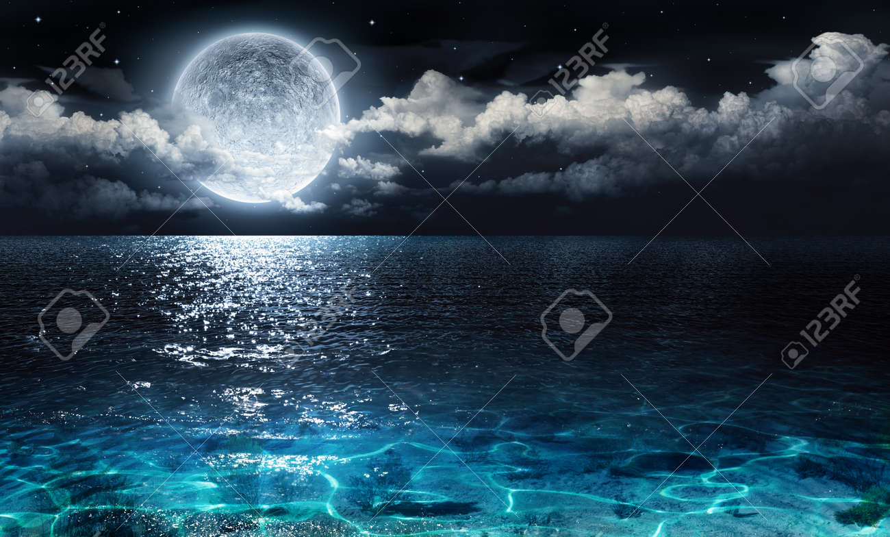 romantic and scenic panorama with full moon on sea to night Stock Photo - 37398443