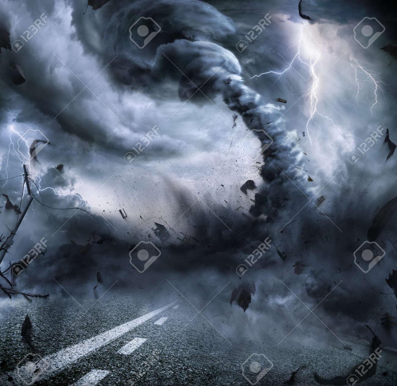 Powerful Tornado - Dramatic Destruction On The Road - 45711863
