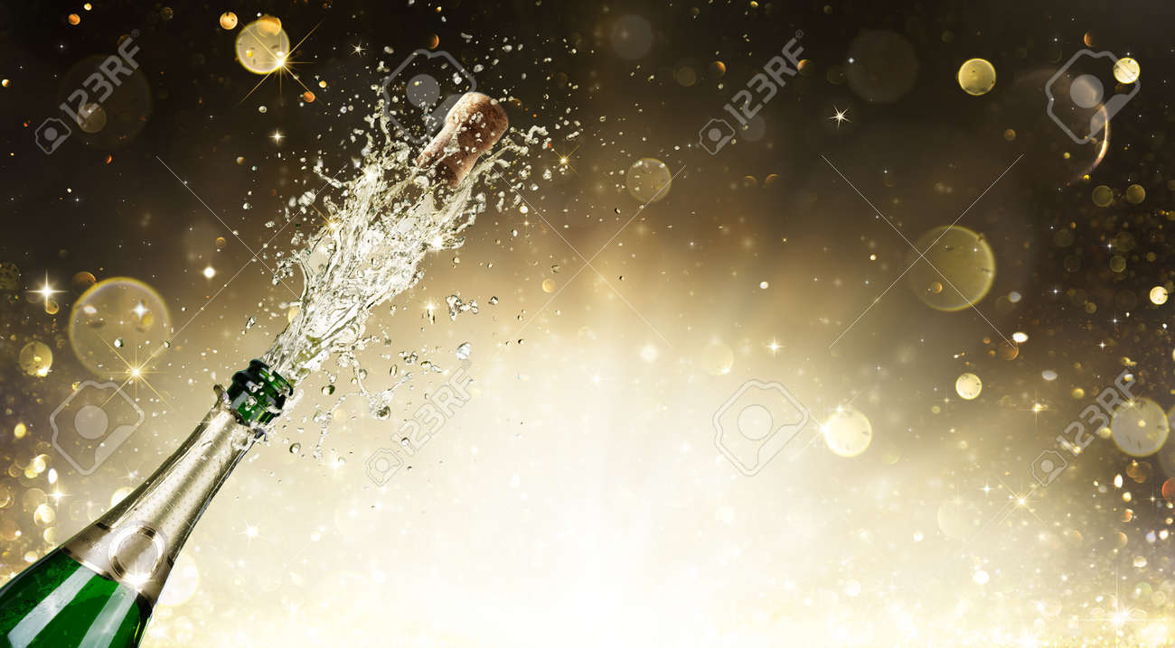 Champagne Explosion - Celebration New Year Stock Photo - 48465149