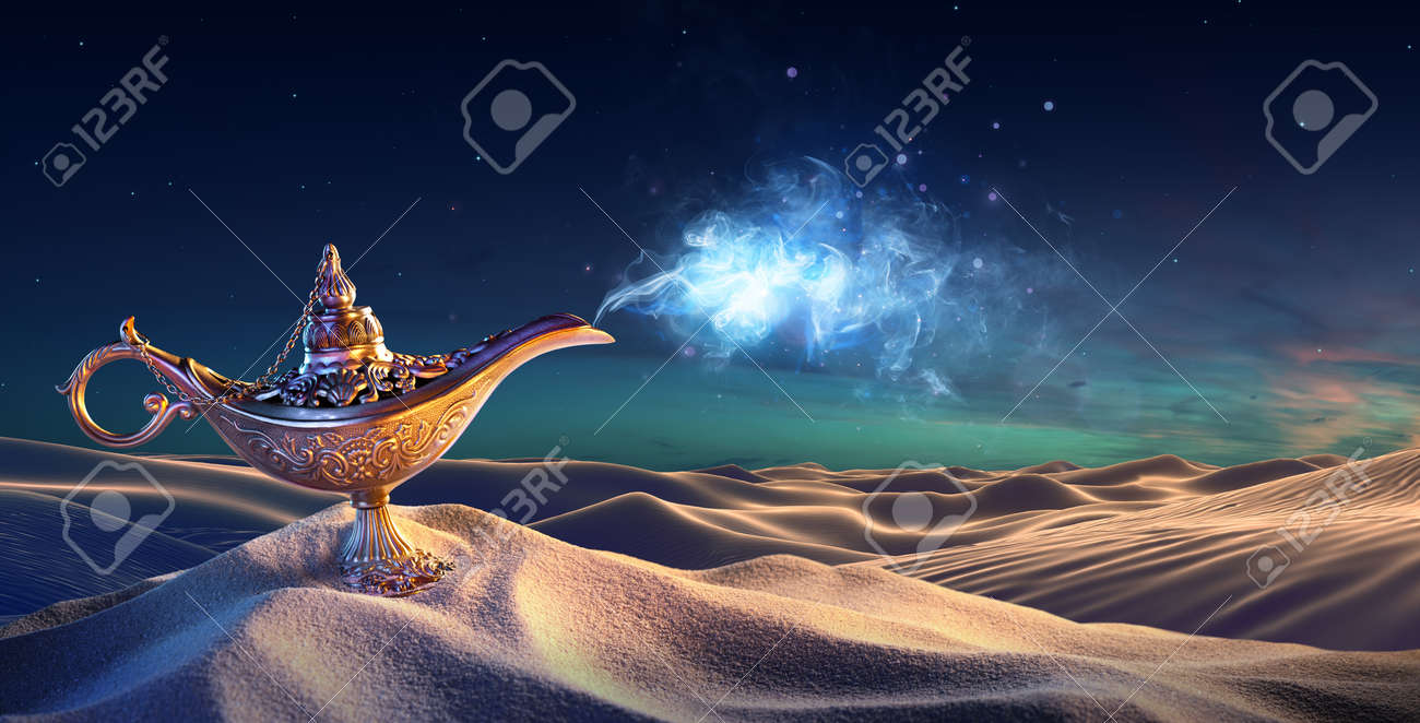 Lamp of Wishes In The Desert - Genie Coming Out Of The Bottle - 52853244
