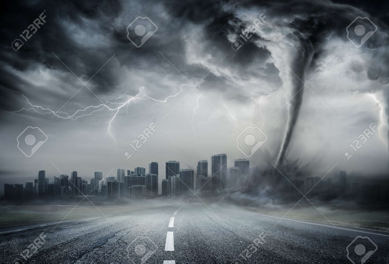 Tornado On The Business Road - Dramatic Weather On City - 56405068