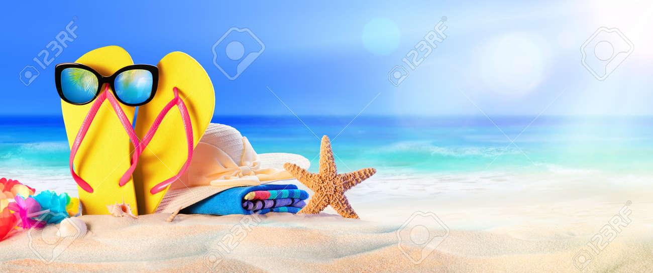 Beach Accessories On Seashore - Summer Holidays - 57658675
