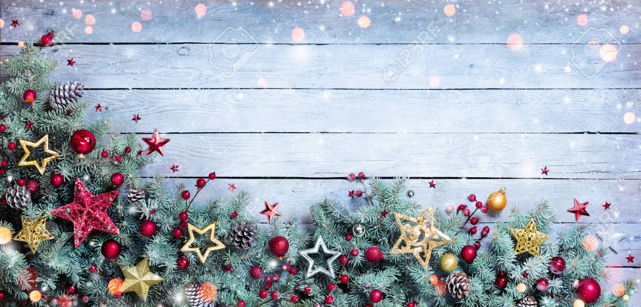 Christmas Border - Fir Branches With Baubles On Vintage Plank - 63826384