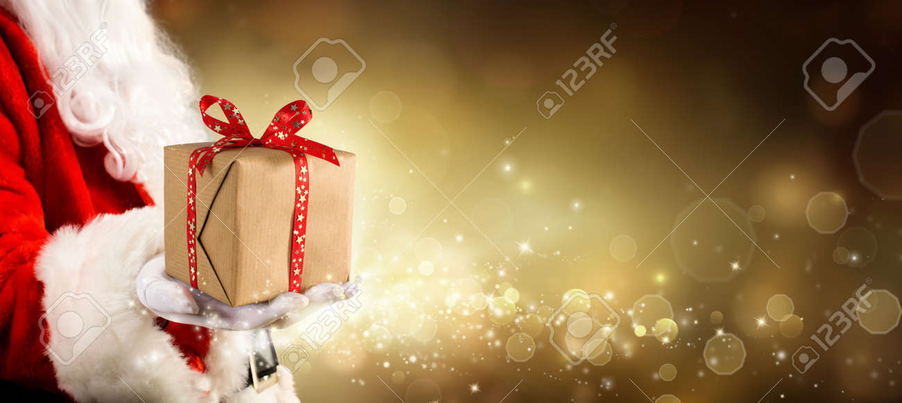 Ein Geschenk Für Weihnachten - Vintage Goldenen Hintergrund Mit ...