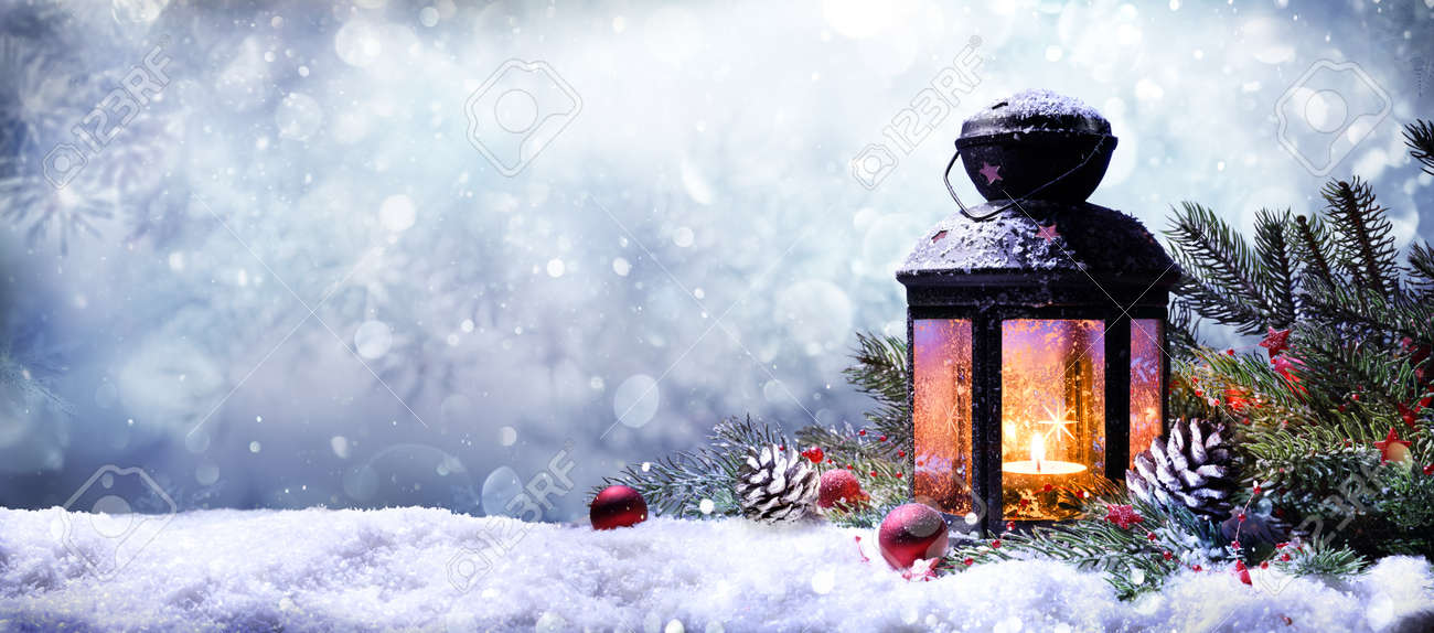 Lantern With Fir Branches On Snow - 65624158