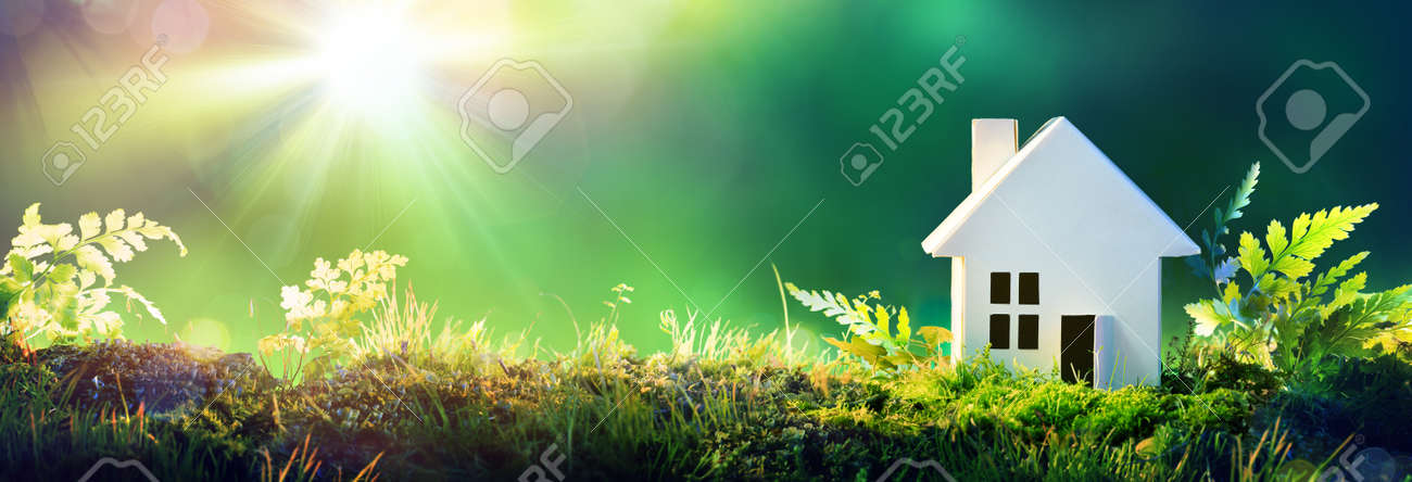 Eco Friendly House - Home Paper On Moss In Garden - 69070802