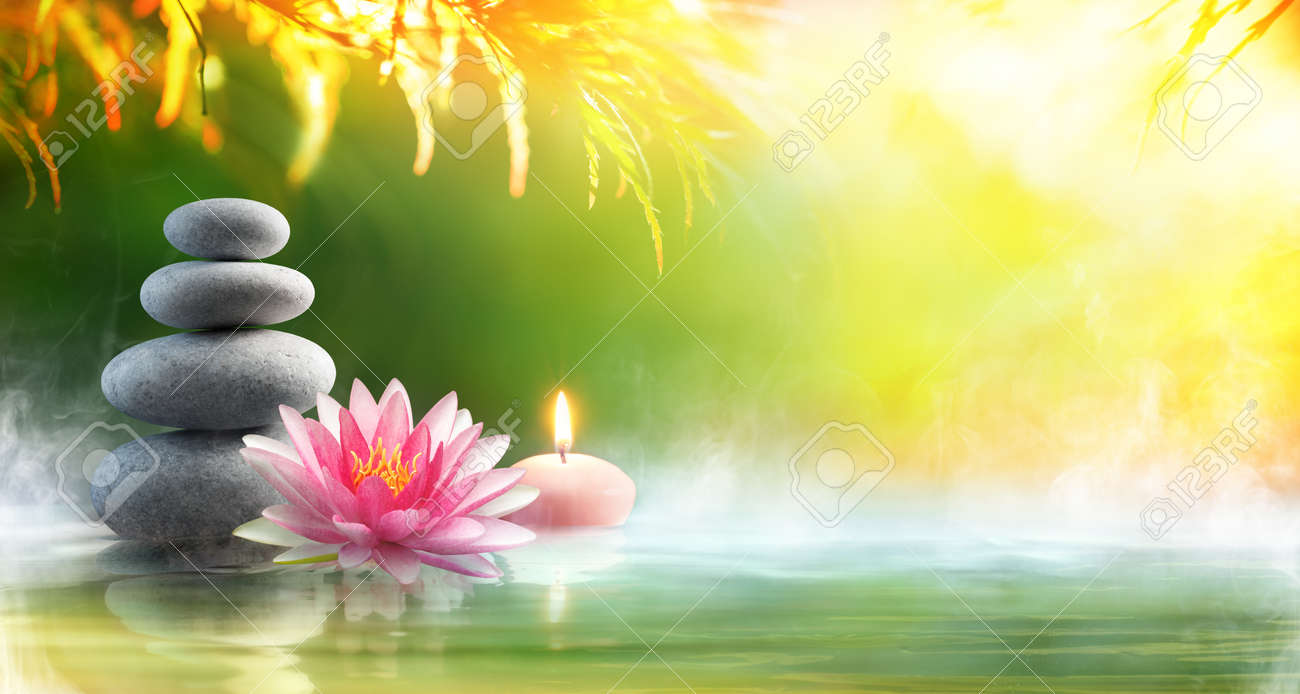 Spa Relaxation Massage With Stones And Waterlily In Water Stock Photo Picture And Royalty Free Image Image 76563879