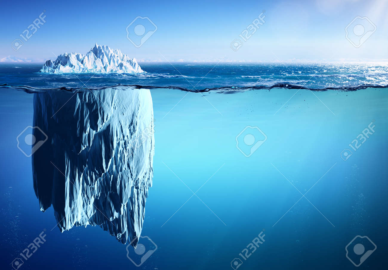 Iceberg Floating On Sea - Appearance And Global Warming Concept - 77391653