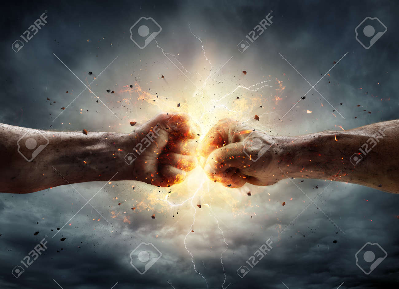 Conflict Concept - Two Fist In Impact - 81692348