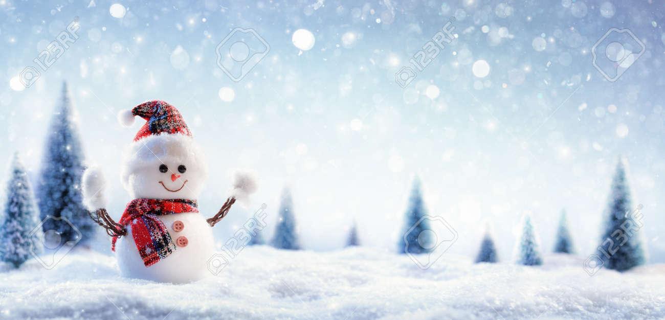 Snowman In Wintry Landscape - 88216559