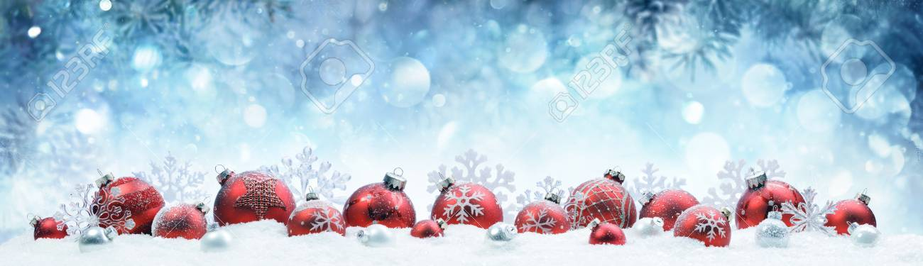 Christmas - Decorated Red Balls And Snowflakes On Snow - 88216564