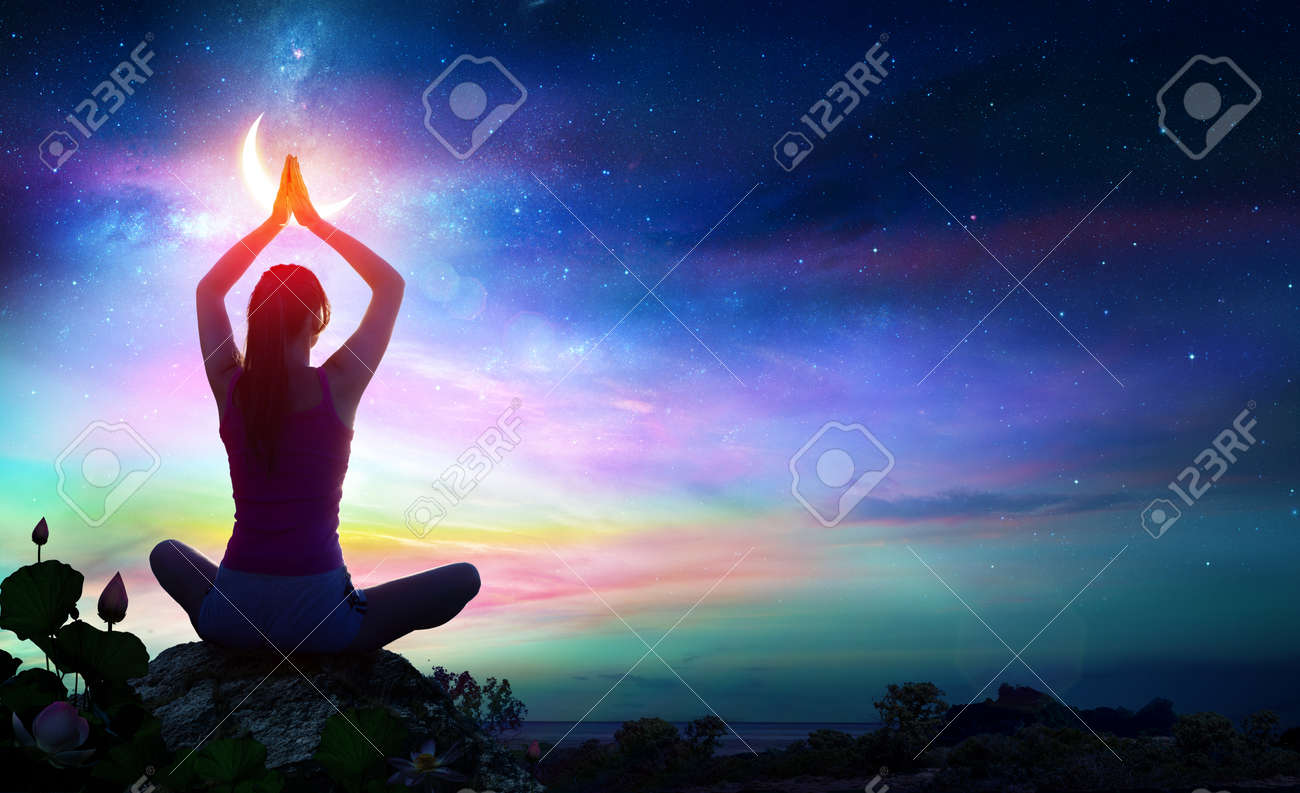 Woman Doing Yoga With Lotus Flowers And Chakra Gradient Colors - Spiritual Contemplation - 90362218